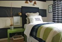 Oliver's Room / Rustic boy's room. Navy blue and gray walls with wood paneled wall, tree fort bed, earth tones wroth pops of color,  lots of organic textures, firefly themed / by Brittany Totland