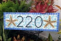Address Signs / Mosaic address signs, house numbers, address plaques, curb appeal, front door decor