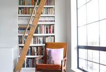 home office and library spaces
