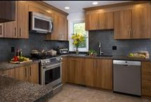 Kitchen Transformations / Kitchen remodels using gorgeous granite and glass countertops, refaced cabinets, and glass mosaics by Granite Transformations.
