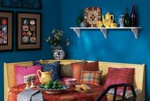 Festive Blues / Use shades of blue to add color to your home while maintaining a comfortable atmosphere.