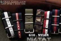 NATO Watch Strap / Strapcode NATO G10 military watch strap double thickness high density ballistic nylon. Approximate 1.0mm to 1.5mm thick, tight up with four 316L stainless steel ring. New palette of colors strip, look excellent on military or dive watches. Nylon are cut and simultaneously sealed using ultrasonic knives to prevent fraying.  Material: Nylon