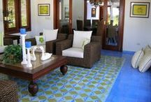 Cement Tile: Rugs / With a wide variety of cement tile patterns available --  geometrics, stylistic florals, classic Cuban, and solid colors field/border tiles -- the versatility of these vibrantly colored tiles not only offer timelessness, but they can easily become focal points in any room when they are used to create a cement tile floor rug.  / by Avente Tile