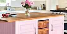 Examples of kitchens with a pop of color
