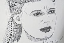 my girls and other faces,..pen , paint or mosaic faces / these are my learning curve to learning to artistically capture their essence through pen work , paint and mosaic work … i am learning ,, self taught ,,,,, i love these faces/ girls