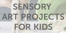 Sensory Art Projects For Kids / Hands-on activities, sensory projects, DIYs, arts and craft ideas, and inspiration for kids of all ages by KiwiCo. They all involve interesting, textured materials, from yarn to fabric to aluminum foil.