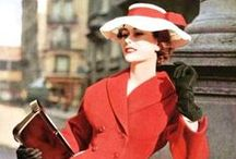 The 1950s. / Soft shoulders, nipped waists, full skirts, hats big and small. / by Jessica Parker