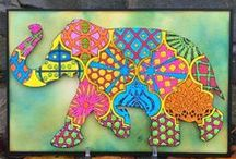 Projects with my N*Studio Elephants / Projects created by other and me using my n*Studio Elephant Stencils  / by Nathalie Kalbach
