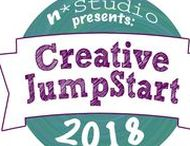 """Creative JumpStart 2018 / Creative JumpStart jumpstarts your creativity in 2018. The Theme is """"Now We're Cooking: Mixed Media Art Recipes"""". We're heading into the kitchen of creativity for this one: the Mixed Media studio! Join our crew of Mixed Media Artists and Crafters as they grab their aprons, favorite tools of the trade, and share with their own original recipes for a mixed media masterpiece. They'll stir together their favorite art ingredients and show us how to create original projects. nathaliesstudio.com/cjs"""