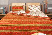 Bedroom Furnishings / Décor bedroom with beautiful floral cotton printed bedsheets, bedspreads, dohar and pillow covers / by Rajrang