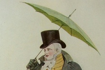 Regenschirme / Umbrellas / The umbrella was a valid accessory for men in the 19th-century as these prints reveal.  / by Melanie Grundmann