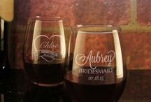 Personalized Wedding Glassware for the Bridal Party / Bridesmaids Gift Designs. Product images on our Pinterest boards are the sole intellectual property of Designs the Limit, LLC. Reproduction of any of our images for commercial use is strictly forbidden.