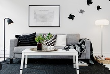 ++ HOME + LIVING ++ / This board is simply inspiration for the style / color of furniture we are hoping to purchase in the near future as we redesign our house to incorporate a black / white theme throughout.  / by Cherie Edwards
