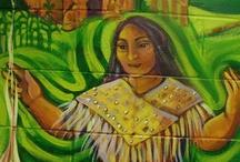 Art: Maureen Walton / Maureen Walton is a mural artist currently painting the  story of Dagonawida & Hayehwatha for the Mohawks of the Bay of Quinte - http://maureenwalton.com/