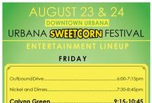 2013 Sweetcorn Festival / This annual event has become the largest free festival in Champaign County, celebrating our local sweetcorn and officially welcoming returning U of I students! It is frequented by as many as 50,000 individuals from both the Champaign-Urbana area as well as surrounding communities in Central Illinois. The main course: hot, buttery ears of Illinois sweetcorn!   The festivities will kick off on Friday, August 23rd from 5:00-11:00pm and continue through Saturday, August 24th from 11:00am-11:00pm.