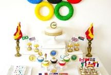 Olympics Inspired Sports Party / Olympics inspired sports party ideas with supplies, printables, decorations, recipes and DIY for birthdays or viewing parties! Get the PRINTABLES here: http://www.birdsparty.com/olympics-sports-party-printables-supplies-olympics-party.html