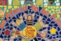 "Gallery - 6th Grade Legacy Mural, Goodnoe Elementary, Newtown, PA / The 6th grade class of 2016 created a legacy gift to their school. Student sculpted themselves reaching up and celebrating what makes them special. Some students are holding balls, instruments, or something depicting their hobbies. The resulting mosaic is a vibrant mural created with the help of AIR artist Terri Herring. The inspirational wording chosen for the mural is ""Don't be Afraid to be Amazing"" attributed by French philosopher Joseph Joubert."