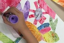 Gallery - Eric Carle and Paste Paper Collage, Sol Feinstone Elementary, Newtown, PA / The 1st graders had so much fun learning about texture and painting with thick, pudding-like paint. AIR artist Terri Herring demonstrated how to use unusual tools such as combs and squeegees to create one-of-a-kind papers that they then used to create their own mixed-up animals.