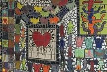 Community Outreach Gallery - Keith Haring Mural, Benjamin Rush, Bensalem, PA / Terri Herring and Amy Winston, completed another impressive mosaic mural that was donated to the Benjamin Rush Elementary School in Bensalem. The donation of this mural was made possible in part by a generous grant from Foundations Community Partnership.