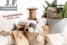 Unelmieni joululahjat / Himoitsemiani J. F. by Finlayson tekstiilejä ihanissa jouluisissa tunnelmissa. Jospa joulupukki kuulisi toiveeni...