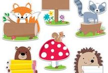"THEME - Woodland Friends / Bring the outdoors in with our Woodland Friends. This décor collection features furry critters, including a fox, bear, hedgehog, owl, and raccoon, along with vintage trailers, pup tents, toadstools, and evergreen trees. The Woodland Friends will help your classroom feel like ""Learning is an Adventure."