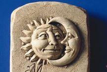 Celestial / George Carruth's Celestial Designs - love the sun, the moon, the stars, the sky! #handmade #madeinAmerica #sun #moon #stars #gifts #Carruth #handcast #weatherproof #stone