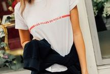 WEEKEND OUTFITS. / Casual cool-girl outfit inspiration from street style and CHRONICLES OF HER. Ideas for looks to wear on the weekend or to work if you have a laid-back dress code. Feat. our favourite basic t-shirts, graphic tees and vintage t shirts.