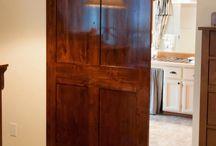 Barn Doors / I finally added a sliding barn door to my bathroom!  I love the way it looks!
