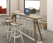 Knoll Medium Standing-Height Meeting Tables / Despite being able to work from nearly any location, people still value connecting with others in the office. In a workplace of diminishing space, meeting tables respond to the need for collaborative spaces, creating well-equipped, comfortable spaces outside of the primary workstation. Medium standing-height meeting tables are designed for 4-6 people.
