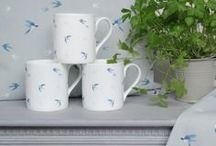 Swallow Collection / Sophie Allport's Summery Swallow collection of fine bone china, kitchen and utility textiles and oilcloth.