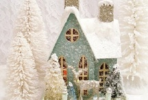 Putz Houses & Bottle Brush Trees / by Merry Peasant