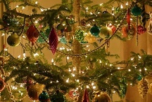 O Tannenbaum / Feather trees & traditional trees, hand-made spun cotton ornaments, vintage ornaments and vintage christmas tree stands and lights