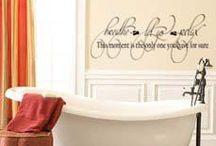 Bathroom Decor / Beautiful ideas to dress up your bland bathroom!   #bathroom #decor #decals #decal #walldecal #walldecals #vinyl #art #home #bath