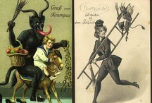 """Gruß vom Krampus / """"Krampus is a mythical creature recognized in Alpine countries. According to legend, Krampus accompanies Saint Nicholas during the Christmas season, warning and punishing bad children, in contrast to St. Nicholas, who gives gifts to good children. When the Krampus finds a particularly naughty child, it stuffs the child in its sack and carries the frightened child away to its lair, presumably to devour for its Christmas dinner.""""   More at Wikipedia."""