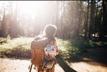 {backpacking} / 1. travel or hike carrying one's belongings in a backpack.