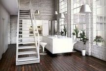 "Design Style ~ Industrial / Chic / Industrial Interior Design includes the use of recycled materials, dark metals with exposed wood, concrete, exposed pipes, a ""warehouse"" look....Industrial Chic is a Design Trend which adds brighter, softer & bolder elements to an Industrial space."