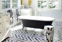 HERRINGBONE HAPPINESS / Despite being a bold design, HERRINGBONE is a great choice even for the most serene of homes. We enjoy it in gray and white at Kerrie Kelly Design Lab.
