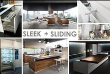 KKDL TRENDWATCH 2015: SLEEK + SLIDING / While in Milan and Barcelona, we found that interior spaces aren't only featuring mixed materials--say wood and metal for example--they are leveraging multiple uses, too! Sliding countertops, remote island lifts and hidden storage were all represented! / by Kerrie Kelly Design Lab