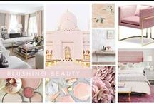 KKDL TRENDWATCH 2017: BLUSHING BEAUTY / Combining fresh and feminine blush tones with bold metallic finishes, Blushing Beauty is the embodiment of cool + clean design. This soft yet dimensional pairing has something to offer every trend spotter, from masterfully curated art to graceful patterns dancing on upholstery. We love how easily this combination mingles with other design concepts, like our favorite navy blue sofa or high contrast Lucite tables! / by Kerrie Kelly Design Lab
