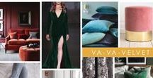 """KKDL TRENDWATCH 2017: VA-VA-VELVET / Velvet is one of those classic fabrics that comes around every once in a while in a very special way. 2017 is the year we see velvet used on every furniture piece imaginable – from ottomans to dining room chairs to the smallest fringey detail. Equal parts luxury and approachability, Va-Va-Velvet is all about adding just the right amount of """"ooh la la"""" to any space."""