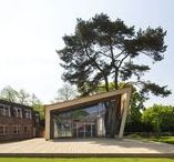 """Amesbury School / The new Visual Arts facility at Amesbury School.  The building is a single storey pavilion block with external decking and is constructed from mainly timber to respond to the """"green"""" agenda of the project.                                    Architect: tp bennett -  Photography: Agnese Sanvito"""