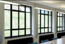 Steel Windows and Doors / Custom Steel Windows and Doors by America Italiana Modern and Sleek Profile Factory Style Windows Black Metal Framed Windows and Doors