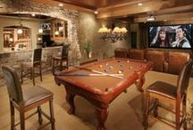 """In the Den / Whether it's your home theater or your """"man cave,"""" the den is the place to relax with friends and family. Here's everything you need to create the perfect spot for movie night or watching the big game. / by Overstock"""