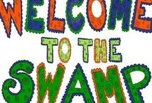 Florida Gators Sports Theme / Florida Gator Decor for all the FLORIDA GATOR FANS to create the perfect SWAMP and SPORTS THEME CLASSROOM. #floridagators #gatorfans #gatorbanners #footballfans #welcometotheswamp #alligators #chomp #oink4pigtales