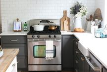 DWELL // kitchen / Fresh kitchen design, white cabinets, kitchen rug, kitchen organization, kitchen decor, cabinet organization, painted cabinets, airy kitchen.