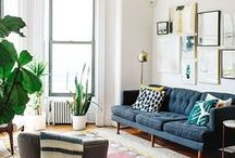 DWELL // city apartment / Fresh whites, rich colors, natural, cozy vibes. Coastal influences, loft style, patterns, home decor, interior design, eclectic design, apartment living, apartment style, houseplants, natural light, linen, wool, leather.