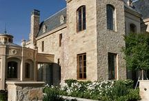 Stone Wall Applications / Vertical stone applications ranging from rustic chopped materials to precision-cut panels.