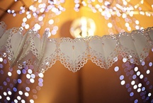 Lace and Lights / This is the theme for decorating our new conservatory room. Strings of pretty white lights mixed with lacey things.