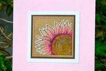 KIT 142 Sunflower / Stampinback ready to use red rubber stamps