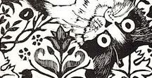 Printmaking - Cats / Linoleum block prints, wood cuts, and reduction prints of cats! (Because I am Smiling Cat Studio, you know!)